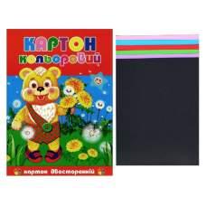 Бумага картон цветная двусторонняя А4 7л 20шт/уп