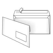 Конверт Е65 110х220 скл белый с окном 0+0 1000шт/уп 2140