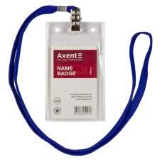 Бейдж вертикальный Axent 4506-A на шнурке, 54x85 мм, прозрачный