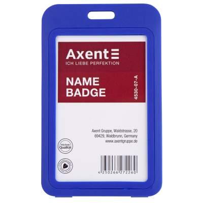 Бейдж вертикальный Axent 4530-07-A 54x85 мм, синий