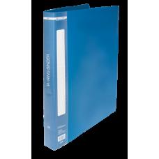 Папка пластиковая, 2 R-образных кольца, А4, ширина торца 25 мм, синяя