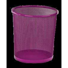 Корзина для бумаг, 12 л, круглая, металлическая, розовая, KIDS Line