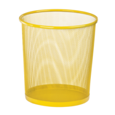 Корзина для бумаг, 12 л, круглая, металлическая, желтая, KIDS Line