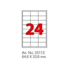 Етикетки самоклейні Optima 24шт. 64,6x33,8 мм, А4 100 арк.