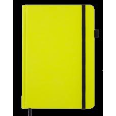 Блокнот деловой BRIGHT, А5, 96 л., (черн. бум.), желтый с серебром, иск.кожа