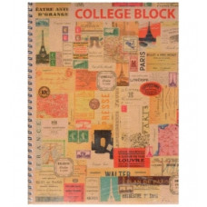 Книга А4 офсетная  80л клетка картонная обложка на спирали с перфорацией Крафт 4180