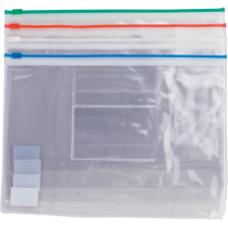 Папка - конверт на молнии zip-lock, А5, глянцевый прозрачный пластик, цветная, ассорти