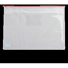 Папка - конверт на молнии zip-lock, А4, глянцевый прозрачный пластик, красная молния