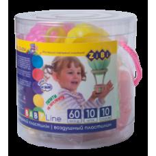 Воздушный пластилин 10 шт, 3 формочки цветные, 3 стека для лепки в тубусе прозрачный ПВХ, BABY Line
