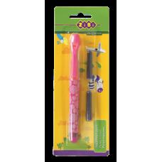 Ручка перьевая с открытым пером + 2 капсулы, розовый корпус, блистер, KIDS Line