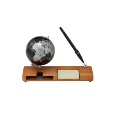 Глобус (10.6см) black silver на дер. подст. с ручкой и визитниц., цвет: темная вишня
