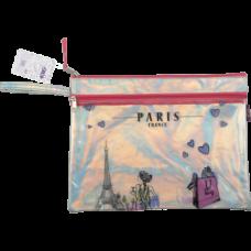 Папка А4 PARIS, 33х26х1 см, 2 отдел., голограф. иск.кожа, розовый и серебро