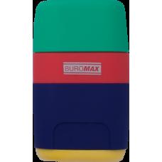 Ластик + Точилка RAINBOW, RUBBER TOUCH, 2 отв., контейнер, пластик.корпус, 1 шт. в блистере