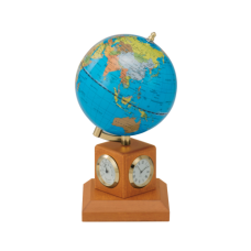 Глобус 10,6 см BLUE на дер.підставці метеостанція, світла вишня