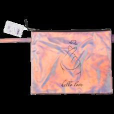 Папка А4 LOVE, 33х26х1 см, голограф.иск.кожа, розовая