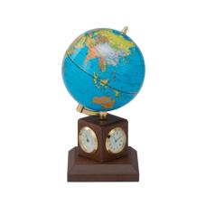 Глобус 10,6 см BLUE на дер.підставці метеостанція, горіх