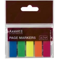 Закладки пластиковые Axent 2440-02-A, 5х12х50 мм, 125 штук, неоновые цвета