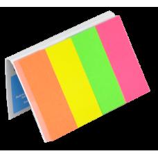 Закладки бумажные с клейким слоем, 20х50мм, 4х50 листов, неон, ассорти