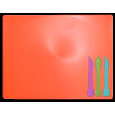 Доска для пластилина + 3 стека для лепки, коралловая
