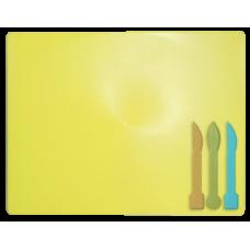 Доска для пластилина + 3 стека для лепки, желтая