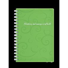 Записная книга на пружине, BAROCCO, А6, 80 л., клетка, пластиковая обложка, салатовая