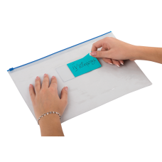Папка - конверт на молнии zip-lock, А4, глянцевый прозрачный пластик, синяя молния