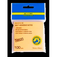Блок бумаги для записей NEON, 76х76 мм, 100 л., 5 цв. ассорти