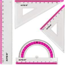 Набор: линейка 15 см, 2 угольника, транспортир (розовая полоса) К17-280-10