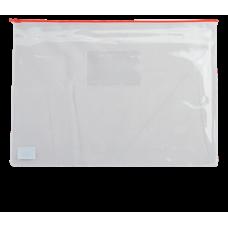 Папка - конверт на молнии zip-lock, А5, глянцевый прозрачный пластик, красная молния