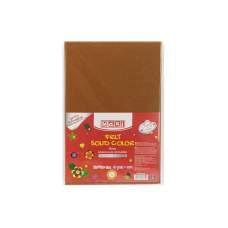 Фетр листовой (полиэстер) на клейкой основе, 20х30см, 180г/м2, коричневый