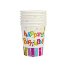 Набор из 6 стаканов бумажных Happy Birthday, 270 мл